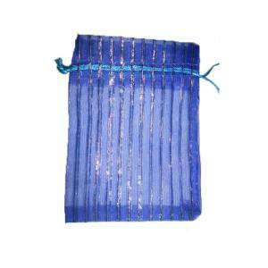 Tamaño 11x16 cms. - Bolsa de Organza Estampada 11x16 cm - AZUL MARINO CON RAYAS PLATA (Últimas Unidades)