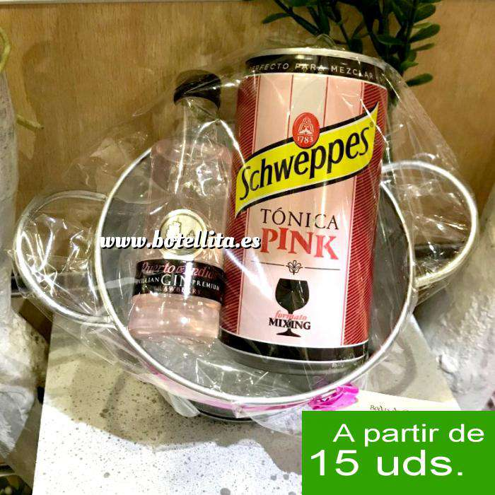 Imagen EN KITS DE REGALO Pack Puerto de Indias 5cl con latita Schweppes Pink 25cl en cubo metal