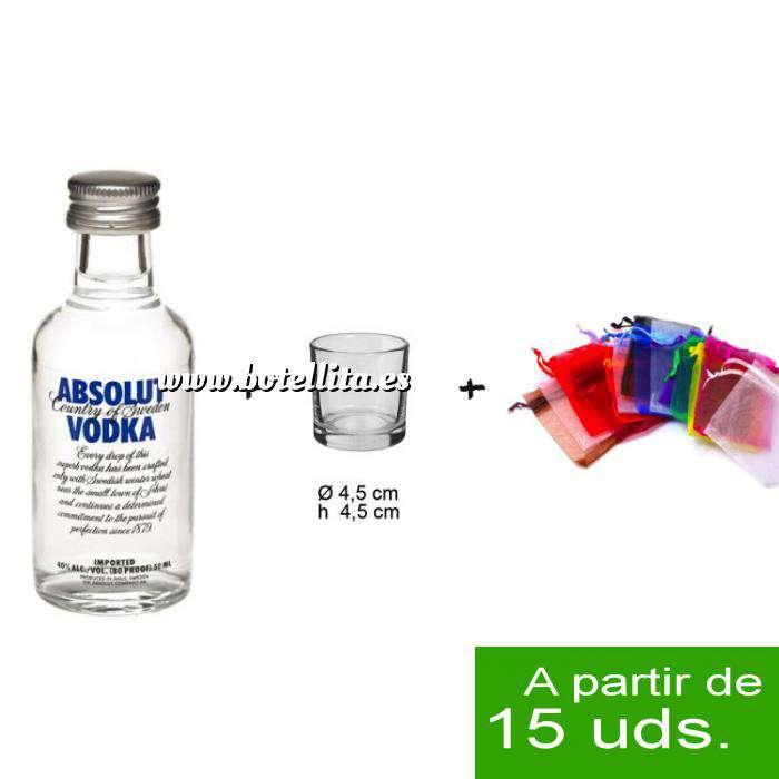 Imagen EN KITS DE REGALO Pack Vodka Absolut 5cl más chupito más Bolsa de Organza
