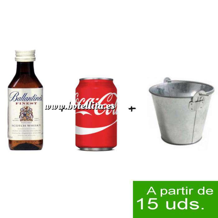 Imagen EN KITS DE REGALO Pack Whisky Ballantines Finest 5cl más Coca Cola 25cl más Cubo de metal (duplicado)