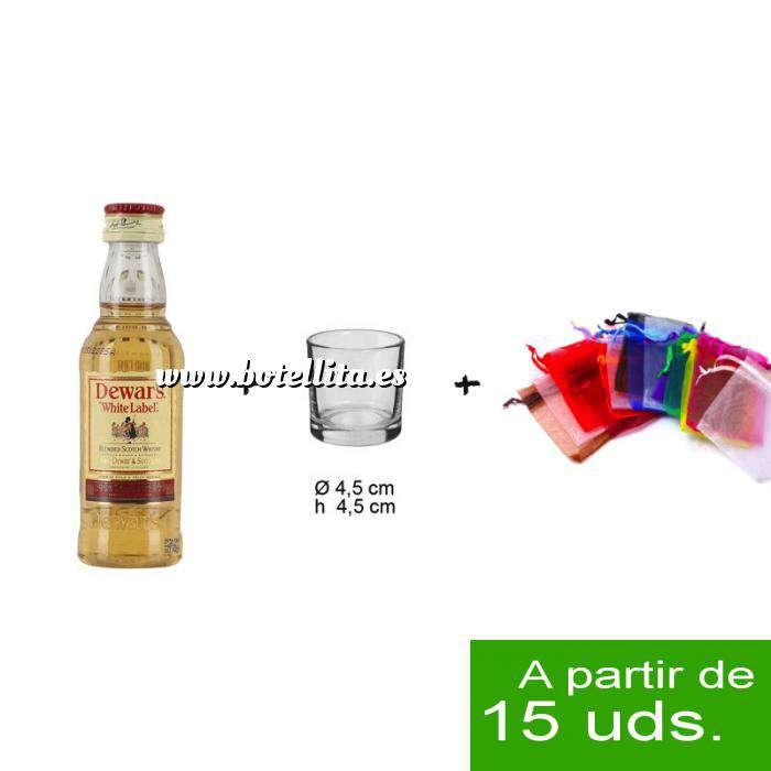 Imagen EN KITS DE REGALO Pack Whisky Dewar´s White Label 5cl más chupito más Bolsa de Organza