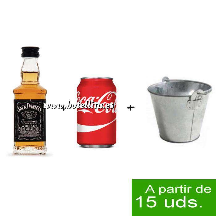 Imagen EN KITS DE REGALO Pack Whisky Jack Daniels 5cl más Coca Cola 25cl más Cubo de metal