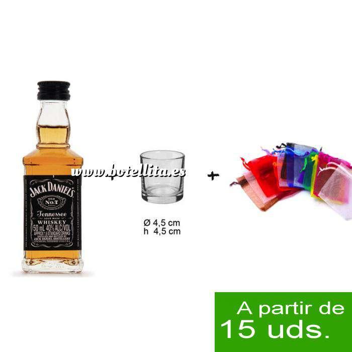 Imagen EN KITS DE REGALO Pack Whisky Jack Daniels 5cl más chupito más Bolsa de Organza