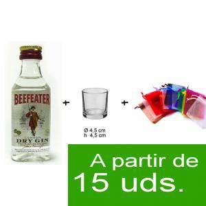 EN KITS DE REGALO - Pack Beefeater 4cl más chupito más Bolsa de Organza
