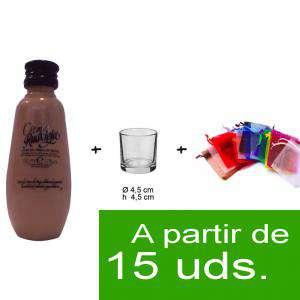 EN KITS DE REGALO - Pack Crema de Orujo Ruavieja 5cl más chupito más Bolsa de Organza