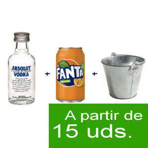 EN KITS DE REGALO - Pack Vodka Absolut 5cl más Naaranja 25cl más Cubo de metal