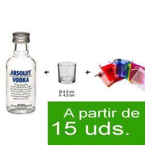 EN KITS DE REGALO - Pack Vodka Absolut 5cl más chupito más Bolsa de Organza