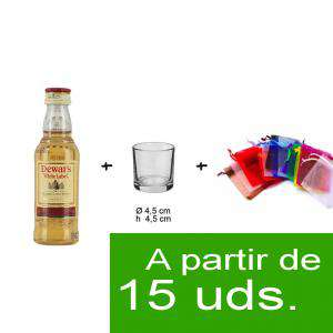 EN KITS DE REGALO - Pack Whisky Dewar´s White Label 5cl más chupito más Bolsa de Organza