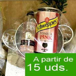 Ginebra - Pack Puerto de Indias 5cl con latita Schweppes Pink 25cl en cubo metal