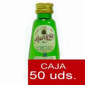 Licores, orujos y crema - Orujo de hierbas Ruavieja 5cl CAJA DE 50 UDS