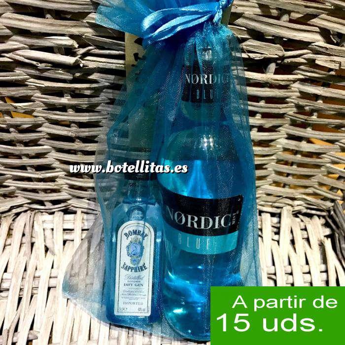 Imagen EN KITS DE REGALO Pack Bombay Sapphire Cristal 5cl más Nordic Blue Mist 20cl más bolsa de organza