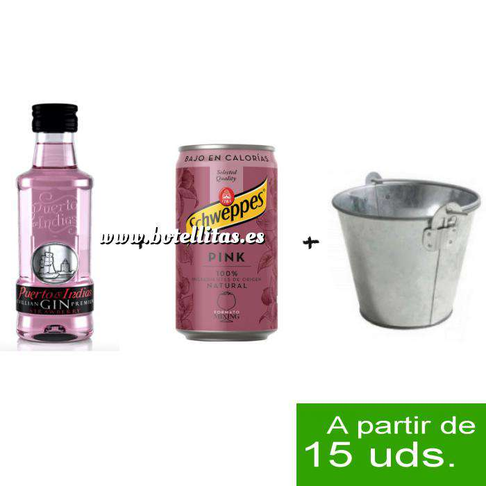 Imagen EN KITS DE REGALO Pack Puerto de Indias 5cl con Schweppes Pink 25cl más Cubo de metal
