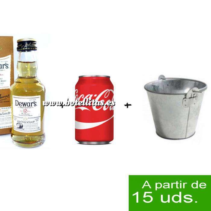 Imagen EN KITS DE REGALO Pack Whisky Dewar´s White Label 12 años ed. Especial 5cl más Coca Cola lata 25cl más Cubo de metal