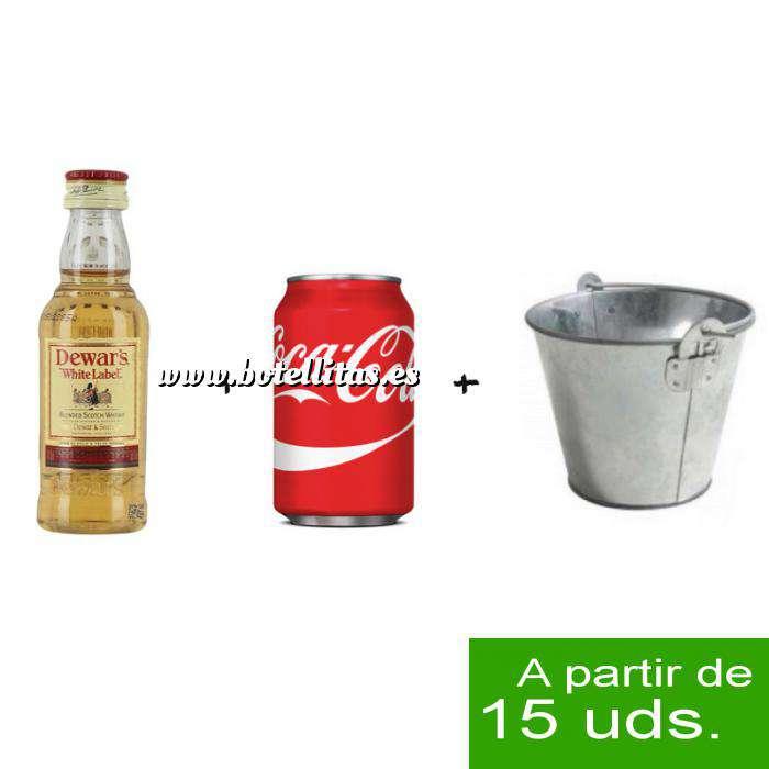 Imagen EN KITS DE REGALO Pack Whisky Dewar´s White Label 5cl más Coca Cola 25cl más Cubo de metal