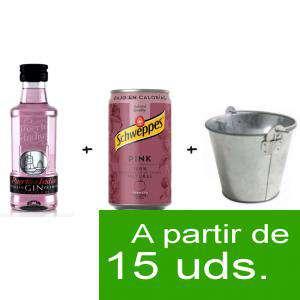 EN KITS DE REGALO - Pack Puerto de Indias 5cl con Schweppes Pink 25cl más Cubo de metal