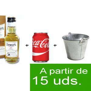 EN KITS DE REGALO - Pack Whisky Dewar´s White Label 12 años ed. Especial 5cl más Coca Cola lata 25cl más Cubo de metal