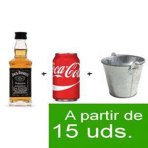 EN KITS DE REGALO - Pack Whisky Jack Daniels 5cl más Coca Cola lata 25cl más Cubo de metal