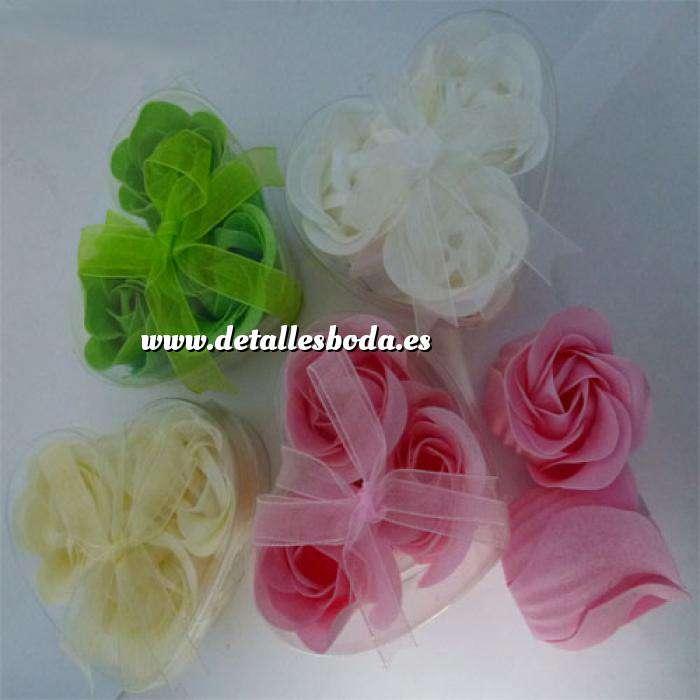 Imagen Baño y aromas Caja 3 rosas de jabon (Surtido blanca, verde, marfil y rosa) (Últimas Unidades)