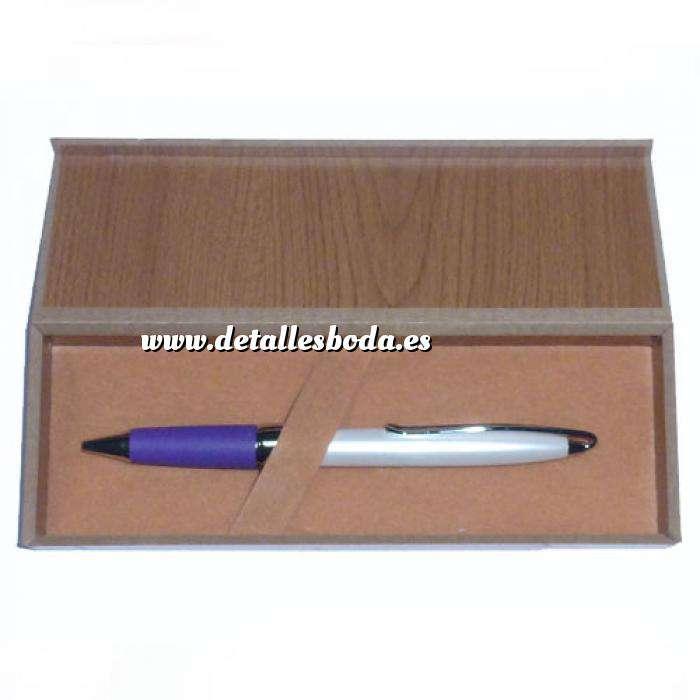 Imagen Boligrafos Boligrafo Blanco y Morado en caja de madera (Últimas Unidades)