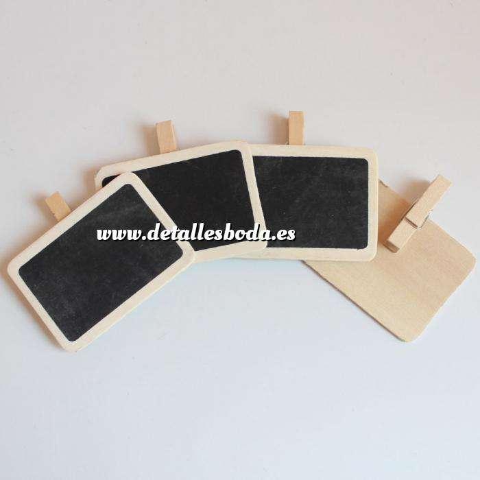 Imagen Detalles para la ceremonia Mini pizarra negra rectangular con PINZA de madera PACK 4uds (Últimas Unidades)