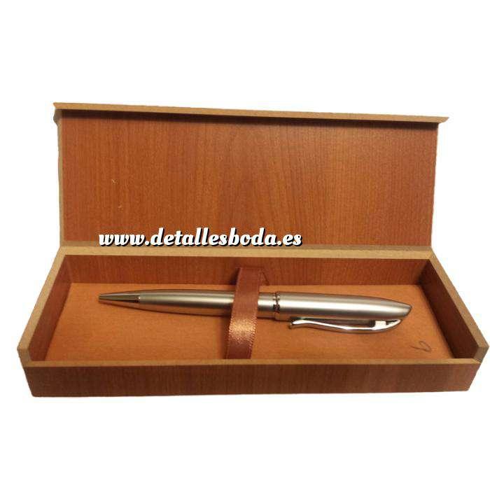 Imagen Prácticos mujer Bolígrafo plateado Mod. 6 en caja de madera