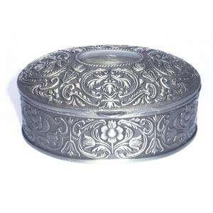 Bandejas y Cofres - Cofre Metal Ovalado 8.5x6.5x3