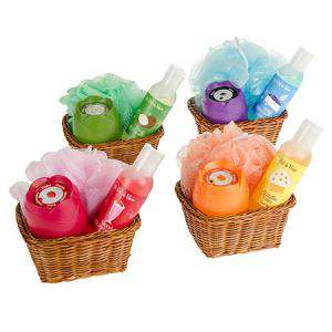 Baño y aromas - Set de baño en cesta de mimbre