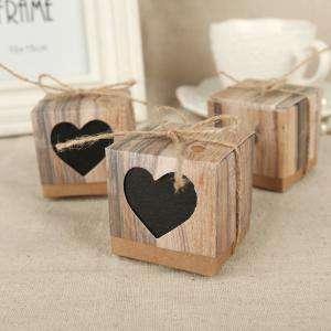 Cajitas para regalo - Cajita Boda - Imitación madera y kraft con corazón transparente