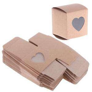 Cajitas para regalo - Cajita Boda - Kraft con corazón transparente (Últimas Unidades)