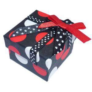 Cajitas para regalo - Cajita para anillos o regalitos - negra y lunares rojo y blanco