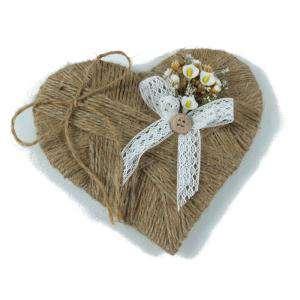 Cestas y Cojines - Porta alianzas corazon flores campanilla ARTESANAL
