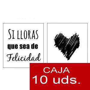 Detalles para la ceremonia - Pañuelos en sobre kraft, con bolsita de celofan PACK DE 10 - Si lloras que sea de felicidad (CORAZÓN)