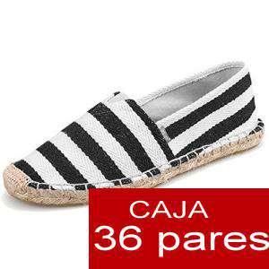 Mujer Estampadas - Alpargatas estampada RAYAS MARINERAS (COLOR NEGRO) Caja 36 pares - OFERTA ULTIMAS CAJAS (Últimas Unidades)