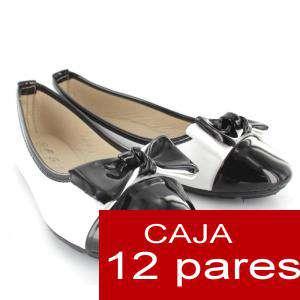Alta Calidad - Manoletinas Charol con lazo BLANCO - Caja 12 pares (Últimas Unidades)