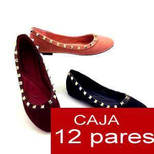 Alta Calidad - Manoletinas terciopelo con tachuelas - caja 12 pares (Últimas Unidades)