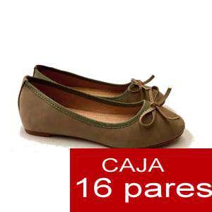 Alta Calidad - Manoletinas KAKI con lazo - Caja 16 pares (Últimas Unidades)