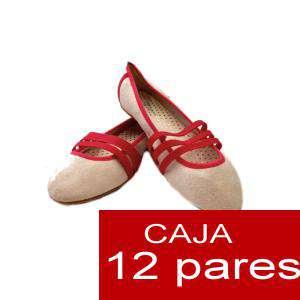 Alta Calidad - Manoletinas tiras fucsia - Caja 12 pares (Últimas Unidades)