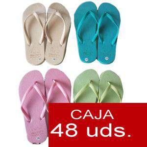Sandalias y Chanclas - Chanclas lisas mujer Mod-2 Colores Surtidos - Caja de 48 pares
