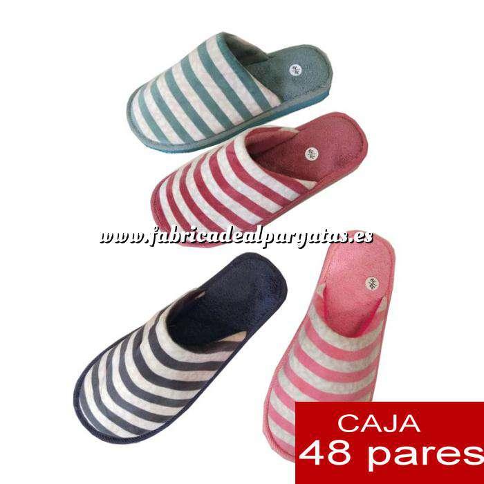 Imagen Zapatillas de Tela (Kung fu) Zaptillas de casa Pantuflas de rayas Cajas de 48 pares (Últimas Unidades)