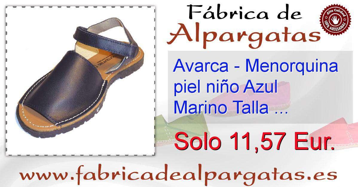 af255874ef3 Avarca - Menorquina piel niño Azul Marino Talla 27