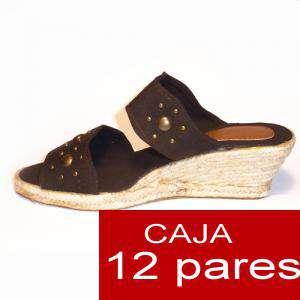 Mujer Plataforma o Tacón - Valenciana tacón Abierta Marrón con Remaches - caja de 12 pares Y104504 (Últimas Unidades)