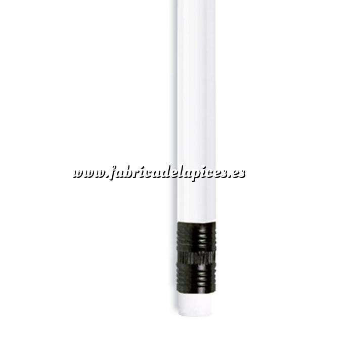 Imagen Redondo con goma Lápiz redondo de plástico blanco con goma