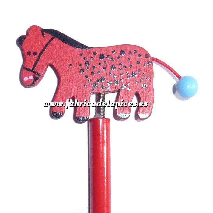 Imagen Redondo decorado Lápiz redondo de madera con decoración caballo muelle