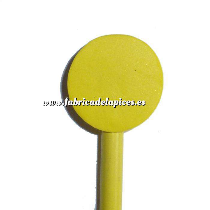 Imagen Redondo decorado Lápiz redondo de madera con decoración círculo amarillo