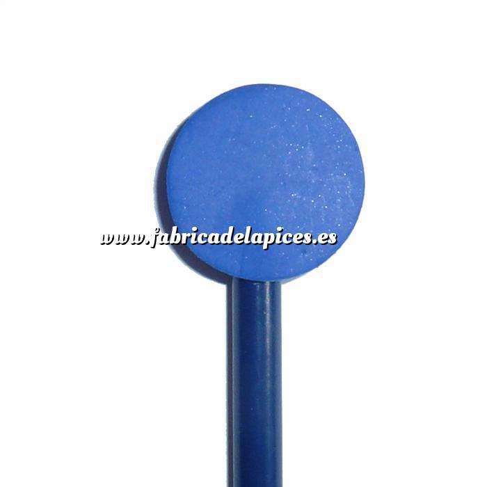 Imagen Redondo decorado Lápiz redondo de madera con decoración círculo azul