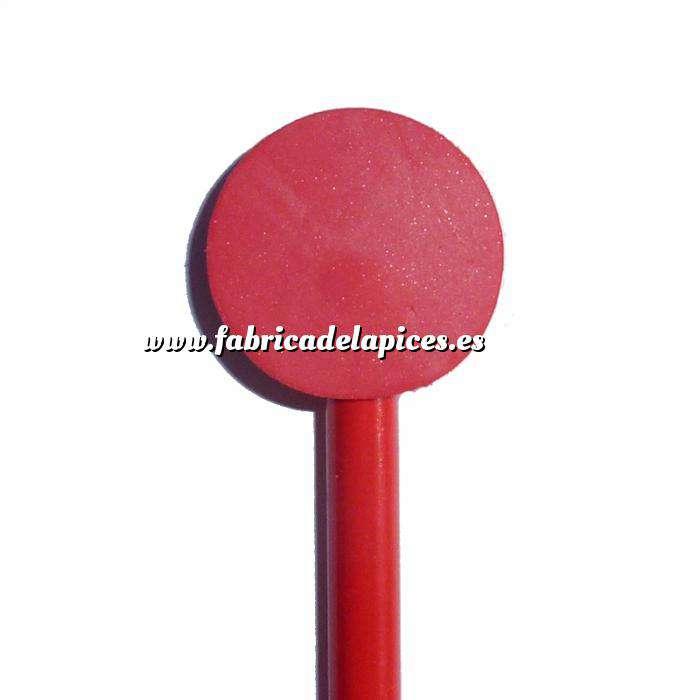 Imagen Redondo decorado Lápiz redondo de madera con decoración círculo rojo