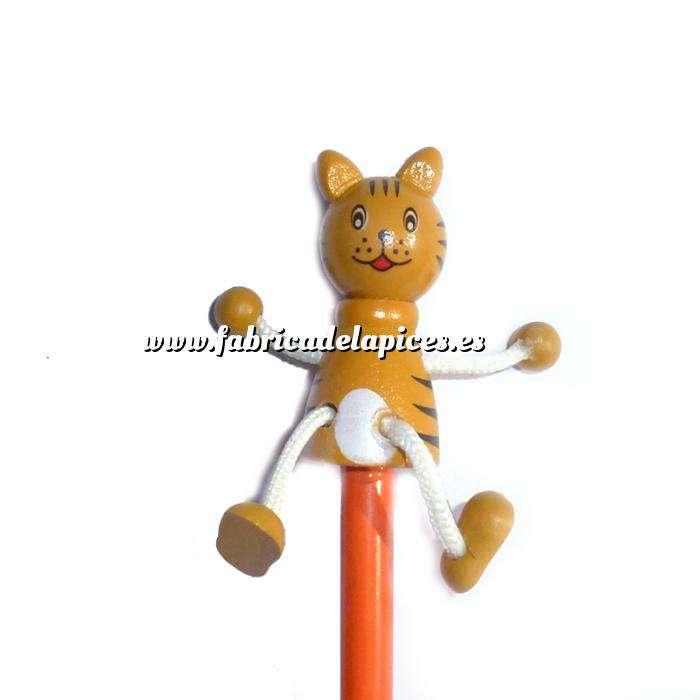 Imagen Redondo decorado Lápiz redondo de madera con decoración gato 2