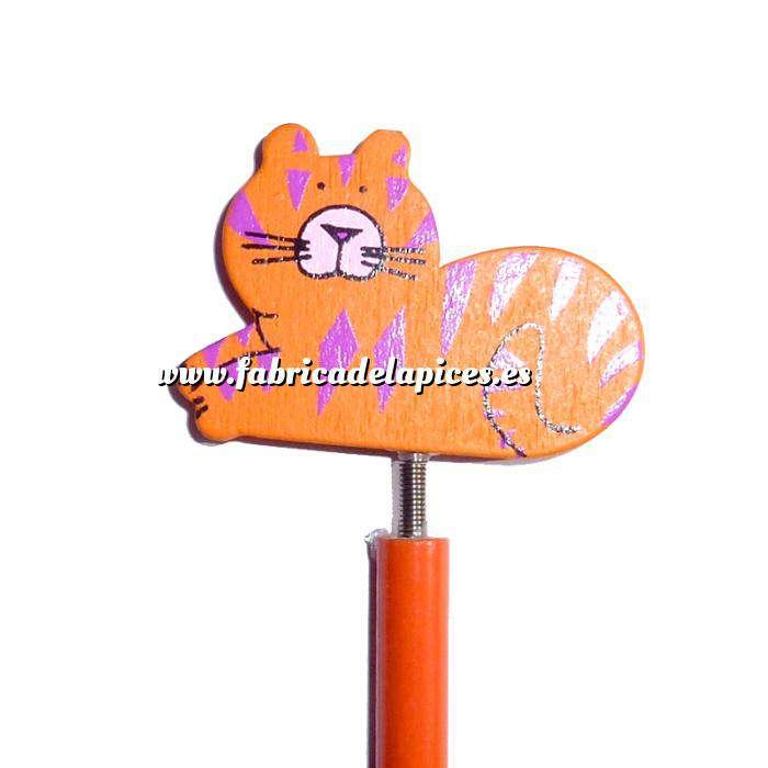 Imagen Redondo decorado Lápiz redondo de madera con decoración gato muelle