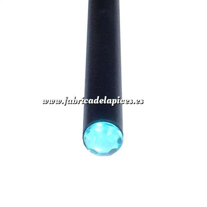 Imagen Redondo decorado Lápiz redondo de madera negro con decoración joya azul