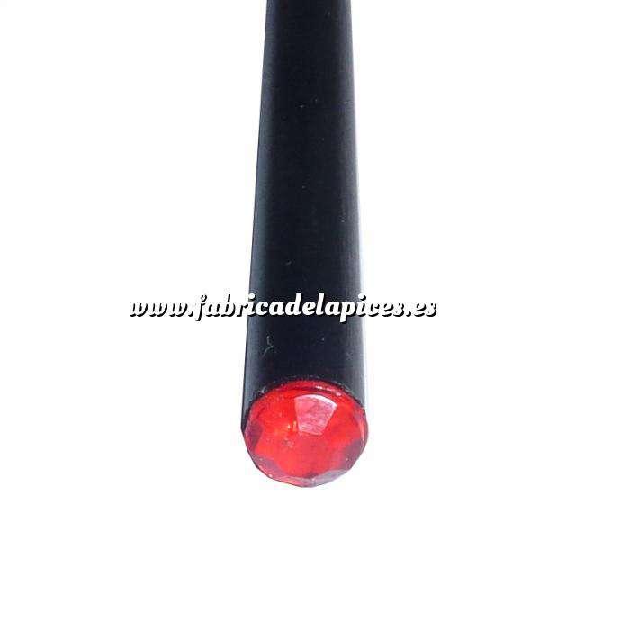 Imagen Redondo decorado Lápiz redondo de madera negro con decoración joya roja